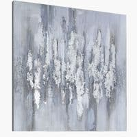 90x90 Abstract Canvas Silver Grey White